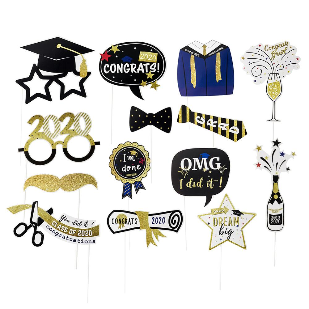 Graduation 2020 Party Decorations Graduation Photo Booth Props Cake Topper Congrats Banner Graduation Balloons Class Of 2020