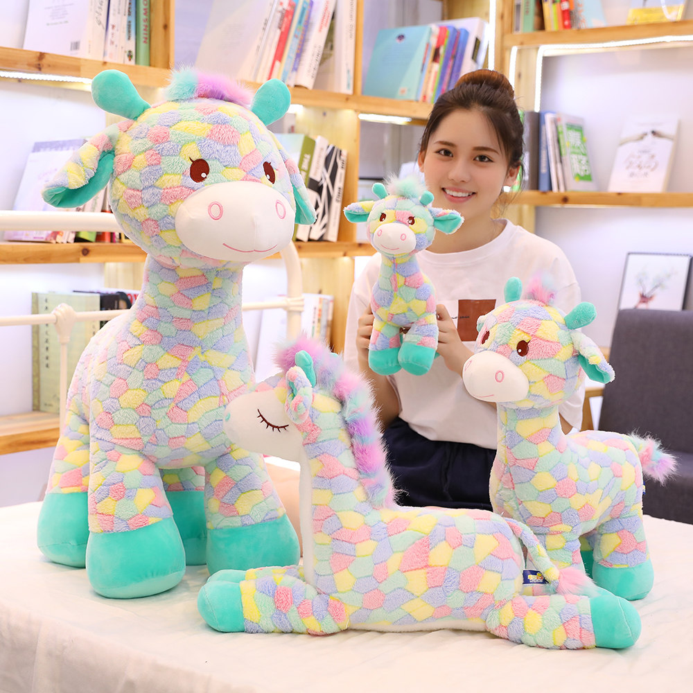 Hot New Huggable Cute Colorful Deer Plush Toys Cartoon Animal Giraffe Dolls Stuffed Soft Dolls For Children Baby Birthday Gifts