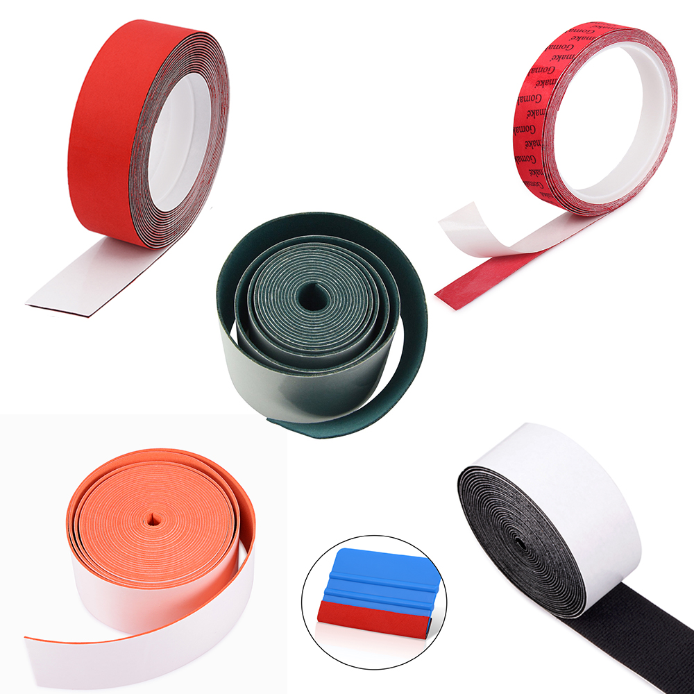 FOSHIO 500CM Replacement Protect Edge Cloth For Carbon Fiber Vinyl Squeegee Window Tint Scraper Car Wrap Tool No Scratch Fabric