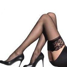 Bas transparents en dentelle pour femmes, collants antidérapants, Sexy, haut des cuisses, au-dessus du genou, pour boîtes de nuit