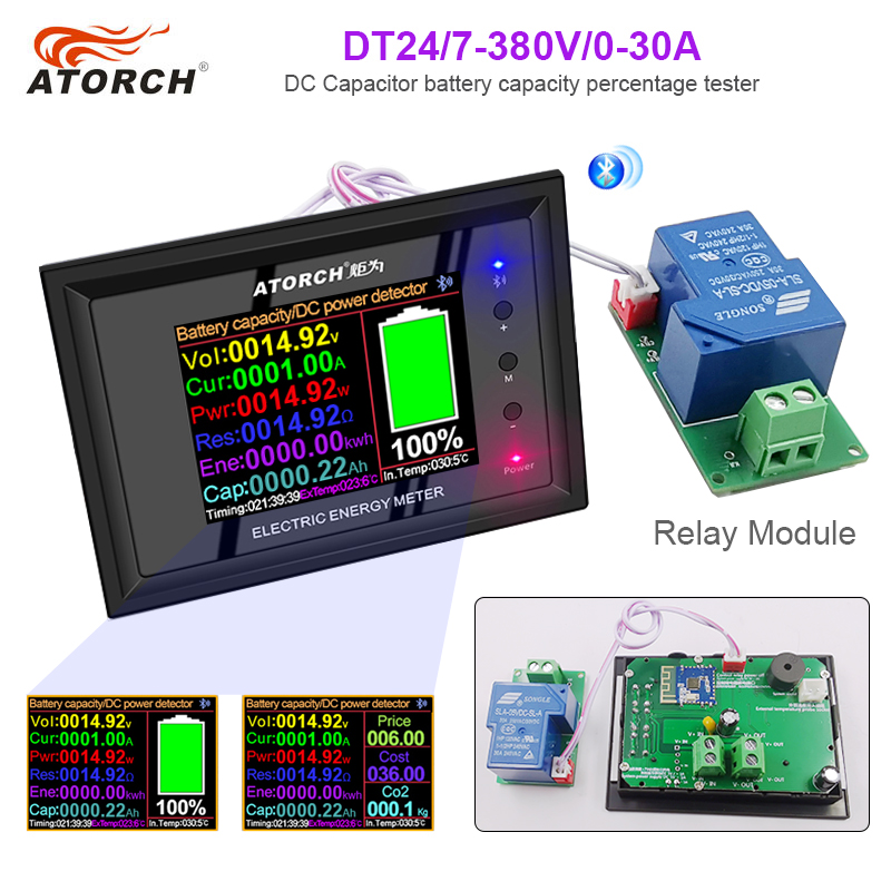Digital Display DC 0-380V Power Supply Voltmeter Ammeter Battery Capacity Tester Battery Fuel Gauge Power Meter + Relay Module