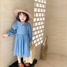 Jesień nowa modna sukienka dla dziewczynki kołnierzyk dla lalek koreańska moda dla dziewczynki sukienka z długimi rękawami pure color toddler kids contton cloth tanie tanio Babyeasier kids COTTON Kolan Skręcić w dół kołnierz REGULAR Pełna Śliczne Pasuje prawda na wymiar weź swój normalny rozmiar