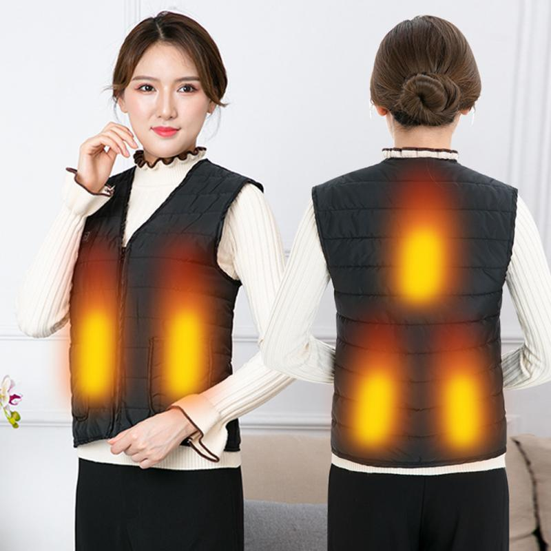 Men Women Outdoor USB Infrared Heating Vest Flexible Electric Thermal Winter Warm Jacket Clothing For Sports Hiking Riding
