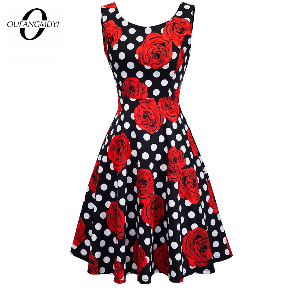 Summer Women Retro Polka Dot Rose Floral Print Slim Elegant Casual Party Swing A-Line Dress EA063 1