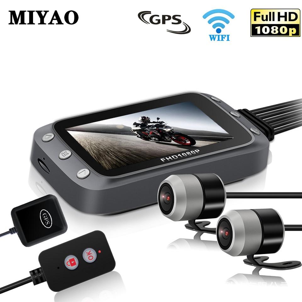 GPS DVR Camera-Motor Motorcycle Recorder Dash-Cam Motorbike Dual-Lens Wifi Rear 1080P