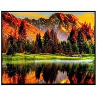 5D DIY Diamond Painting natural scenery print Embroidery Painting in reflection canvas Rhinestone bright color 30X25cm 67
