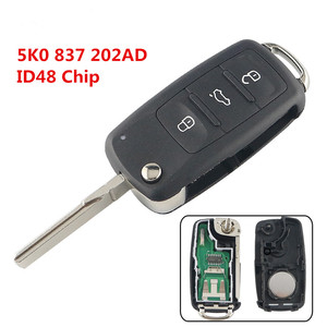 XRSHKEY 5K0 837 202AD 433 ID48 Chip 3 Button Remote Flip Key For Caddy Eos Golf Scirocco Tiguan