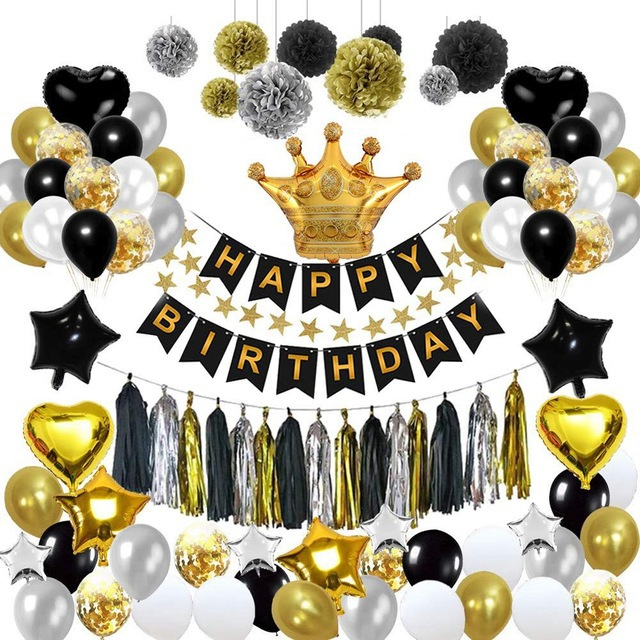 Black And Gold Party Decorations Birthday Banner Crown Balloons Star Heart Foil Balloons Birthday Decorations Party Supplies