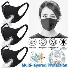 Masque respirateur à la mode avec Valve, 3 pièces, coton lavable, filtre à charbon actif, masques buccaux Anti-poussière, allergie, PM2.5