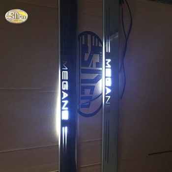 SNCN LED moving light scuff pedal for Renault Megane car acrylic led door sill welcome pedal car styling led moving door scuff for land rover evoque 2013 15 door sill plate led welcome pedal led brand logo drl accessories