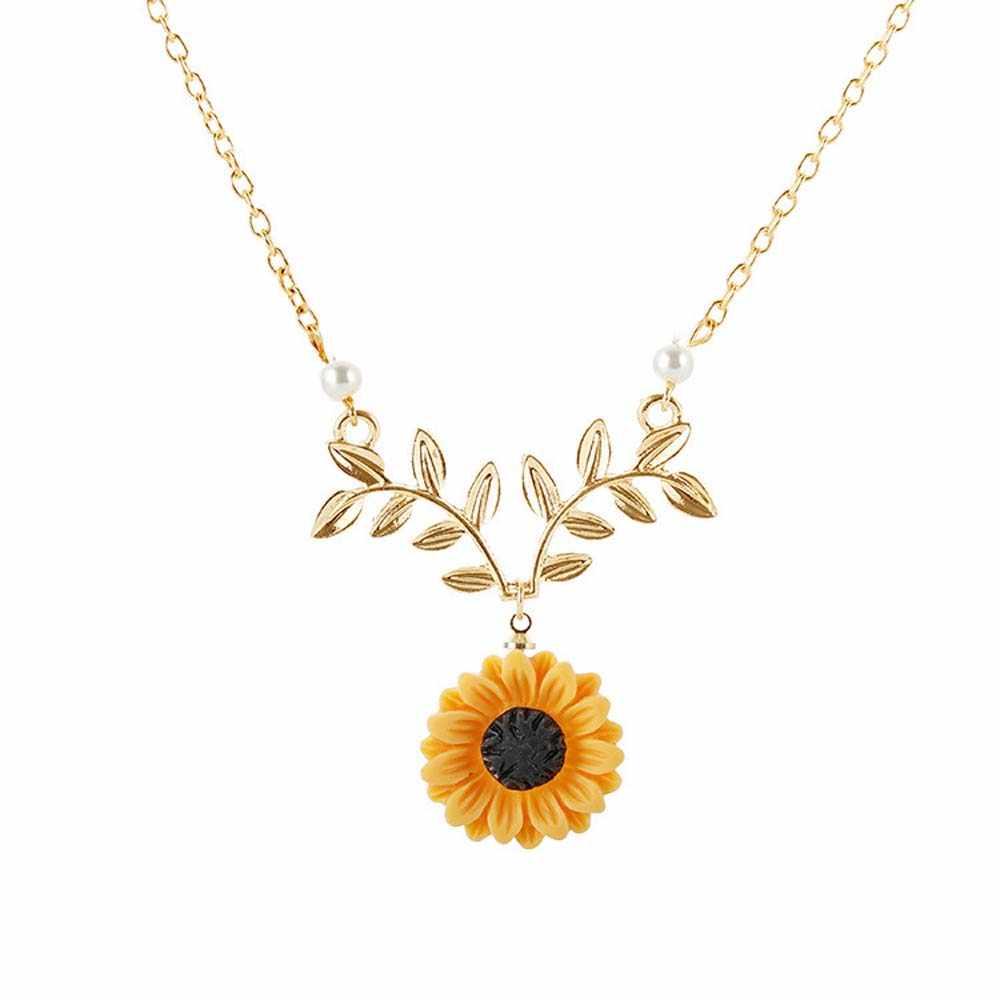 Słonecznikowy naszyjnik dla kobiet kreatywny perłowy żywica daisy collier femme 2019 łańcuszek do obojczyka Temperament Choker