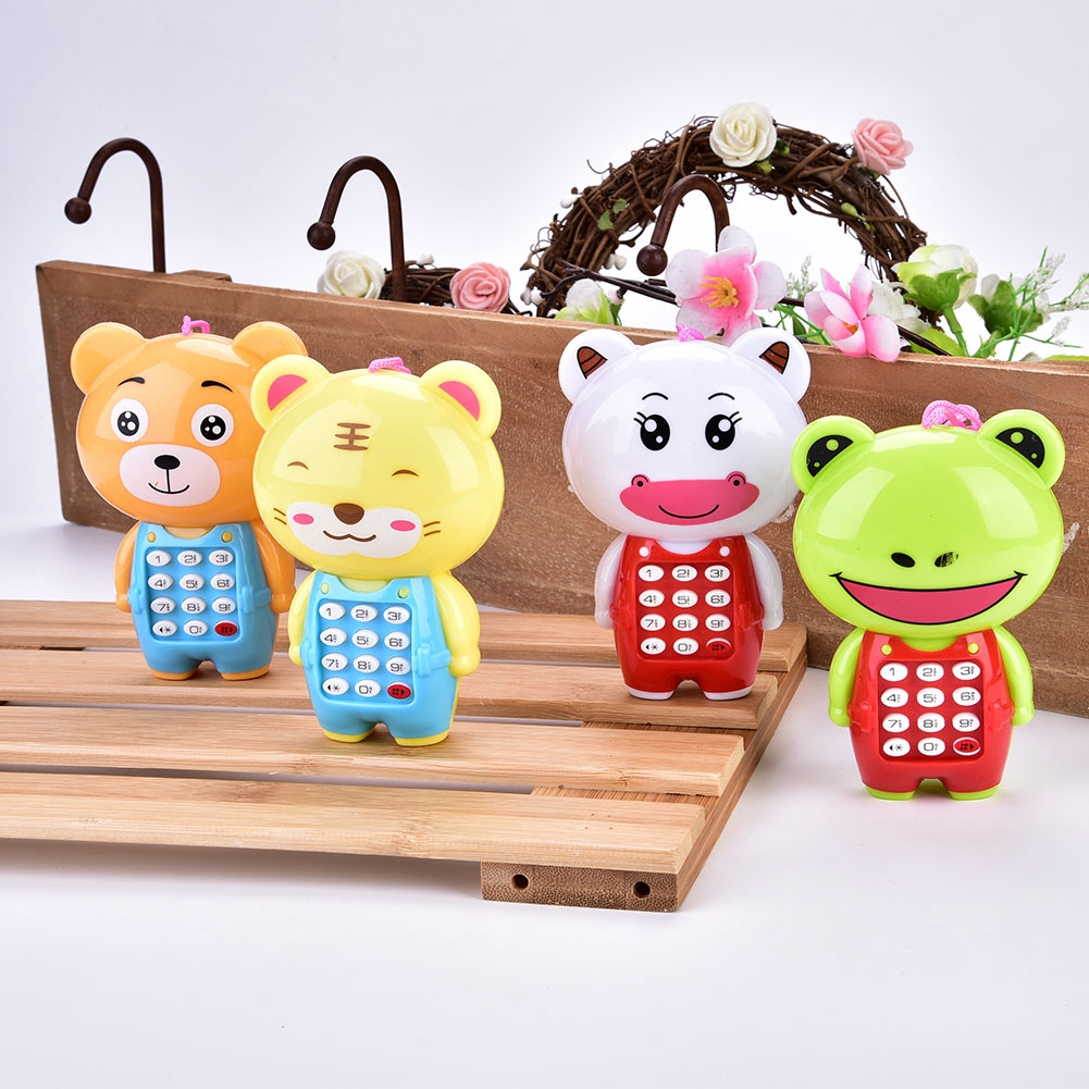 Electronic Toy Phone For Children Cute Animal Musical Sounding Multifunctional Cell Phone Hanging Bed Bell Toys For Children
