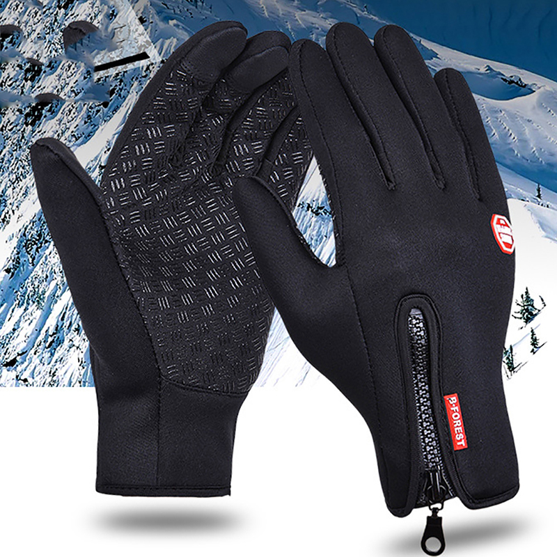 Anti Slip Windproof Thermal Warm Touch Screen Glove Snowboard Gloves Winter Snow Windstopper Glove Women Men Black Zipper Gloves