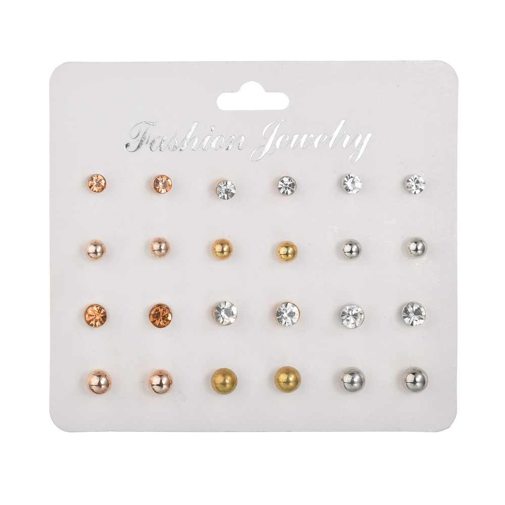 12 pairs/set Pearl Earrings set For Women Jewelry Bijoux Brincos Pendientes Mujer Fashion Simulated pearl Crystal Stud Earrings