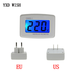 DM55-1 Digital Voltmeter EU US Plug Volt Meter Socket Voltage Tester LCD Display Voltage Meter 110V 220V Wall Flat Voltage Meter