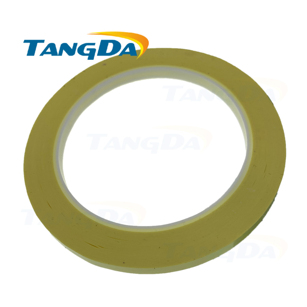 Tangda 6mm*70M 70meter Yellow PET High Temperature Withstand Insulate Anti-Flame Adhesive Mylar Tape Transformer Coil Wrap PN