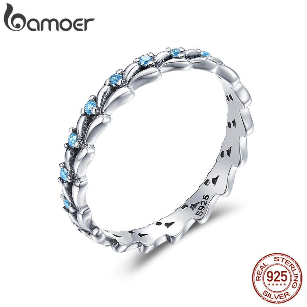 BAMOER Blue Ocean Wave Stackable Finge Rings For Women Small Size Korean Style 925 Sterling Silver Fine Jewelry GXR162
