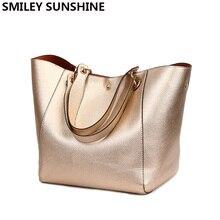 Bolsa de mão de couro genuíno dourado de alta qualidade, bolsa grande de ombro, vintage, 2020