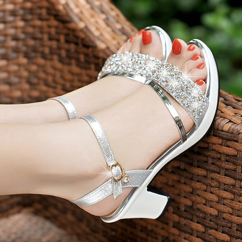 2020 summer new sandals women thick and bright leather high-heeled rhinestone women's shoes buckle women's sandals