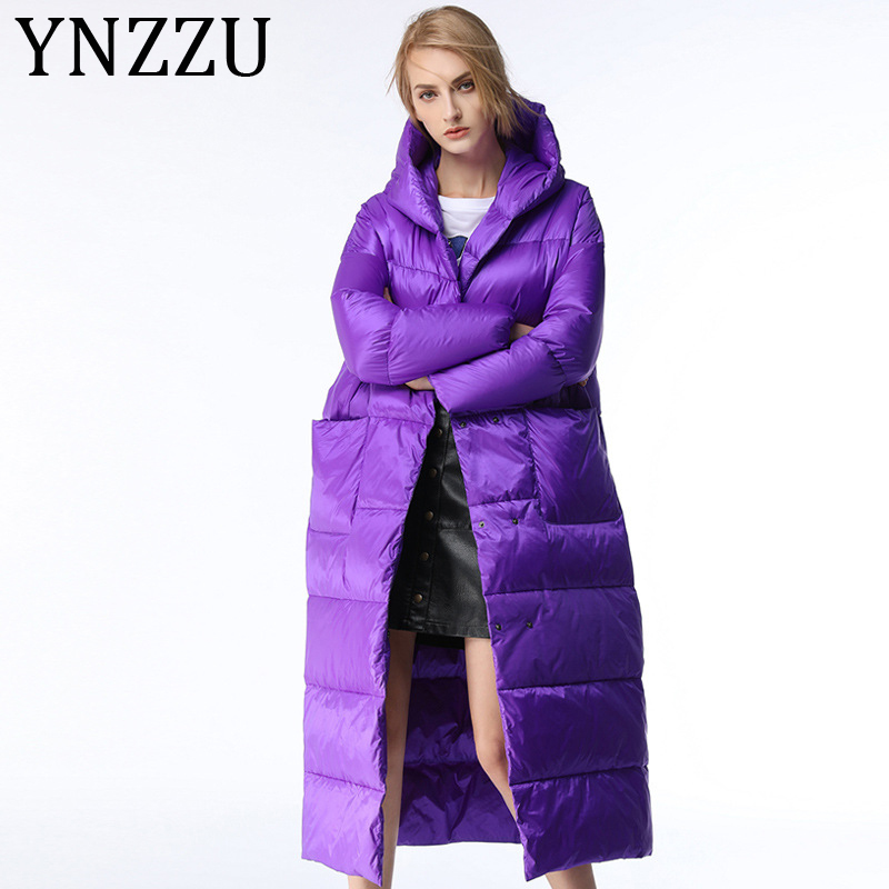 YNZZU Luxury 2019 Winter Women's Down Jacket Elegant Purple Long Thicken Warm Hooded Duck Down Coat Female Snow Outwears A1173