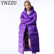 YNZZU Luxury 2019 Winter Women's Down Jacket Elegant Purple
