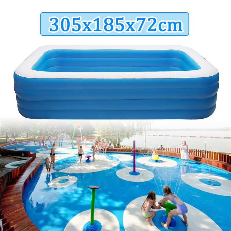 Kids Inflatable Pool 305x185x72cm Children's Home Use Paddling Pool Large Size Inflatable Square Swimming Pool Heat Preservation