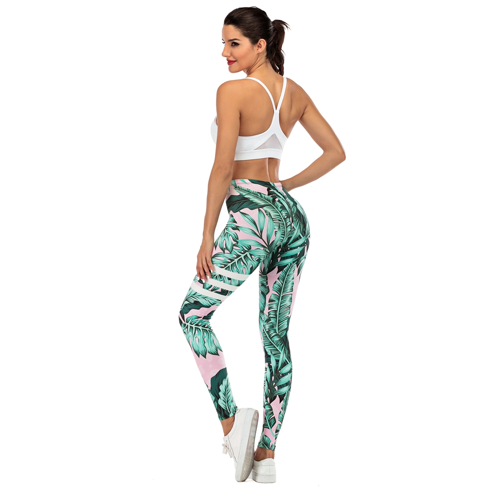 Brand Sexy Women Legging leaf Printing Fitness leggins Fashion Slim legins High Waist Leggings Woman Pants 4