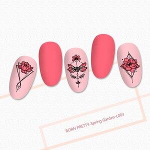 Image 3 - BORN PRETTY seria mandali płytki do tłoczenia paznokci kwiaty do dekoracji paznokci (kształt prostokątny) szablon szablonu obrazu