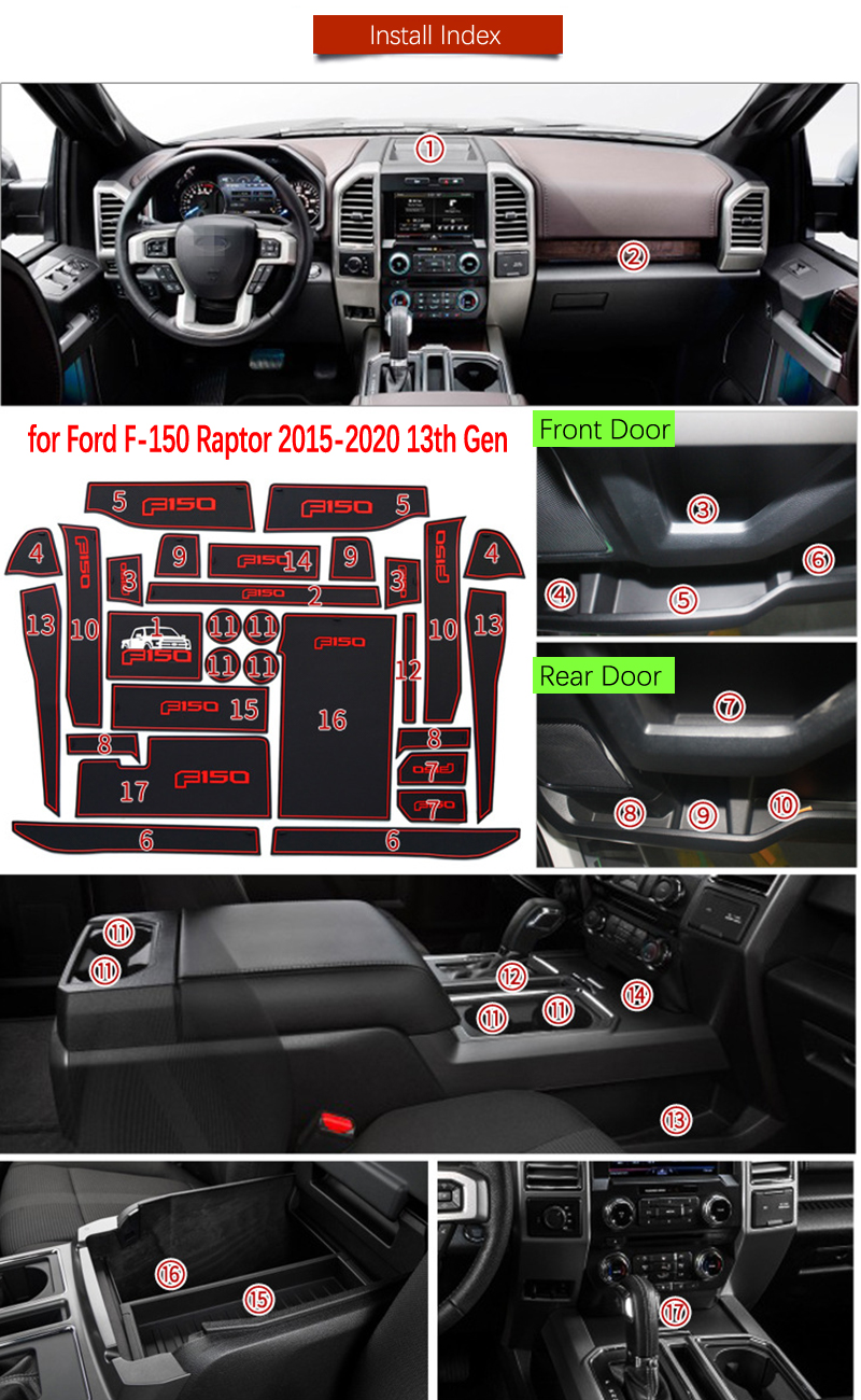 Door Groove Mat For Ford F150 F-150 Raptor F Series 2015 2016 2017 2018 2019 Accessories Anti-Slip Mat Gate Slot Coaster Car