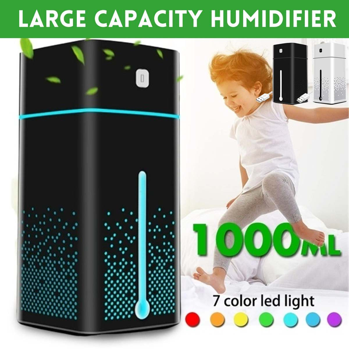 1L Cool Mist Humidifiers Air Humidifier Ultrasonic Essential Oil Aromatherapy Diffuser Large Capacity 7 Color LED Night Light