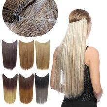jeedou флип в невидимые проволоки наращивание волос синтетический 22inches 50г секрет леску натуральный парик шиньоны
