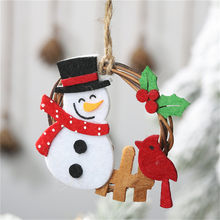 2020 New Year Christmas Decorations for Home Wooden Smiley Deer Rope Hanging Pendant Christmas Tree Decorations@3(China)