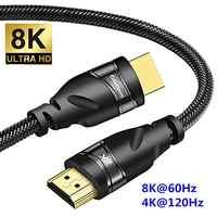HDMI 2,1 gold überzogene Kabel 4K @ 120HZ High Speed 8K @ 60HZ UHD HDR 48 gbps kabel für PS4 HDTVs Projektoren 1m 2m 3m HDMI 2,1