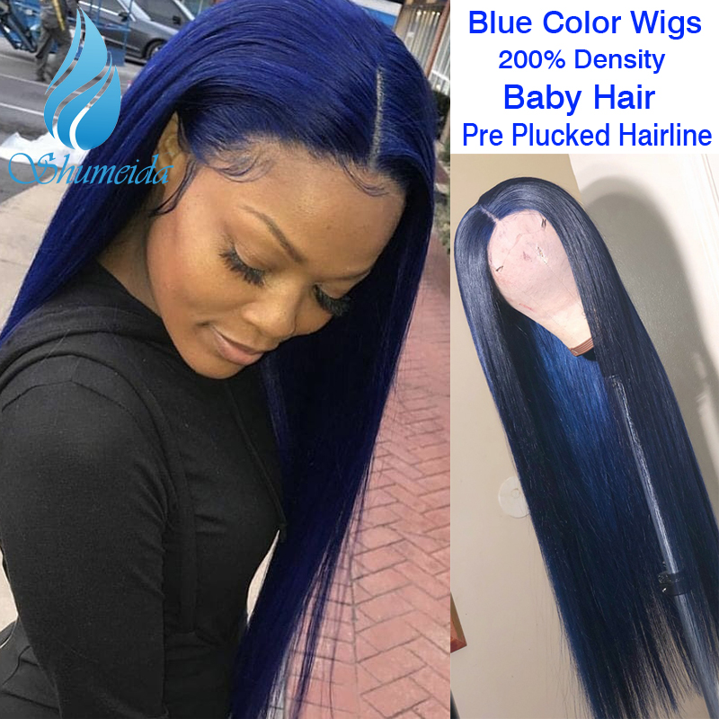 SHD 13*4 Indian Human Hair Wig For Women Dark Blue Lace Front Wigs With Baby Hair Long Straight Hair Glueless Lace Wig Remy Hair