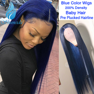 SHD 13*4 Indian Human Hair Wig for Women Dark Blue Lace Front Wigs with Baby Hair Long Straight Hair Glueless Lace Wig Remy Hair(China)