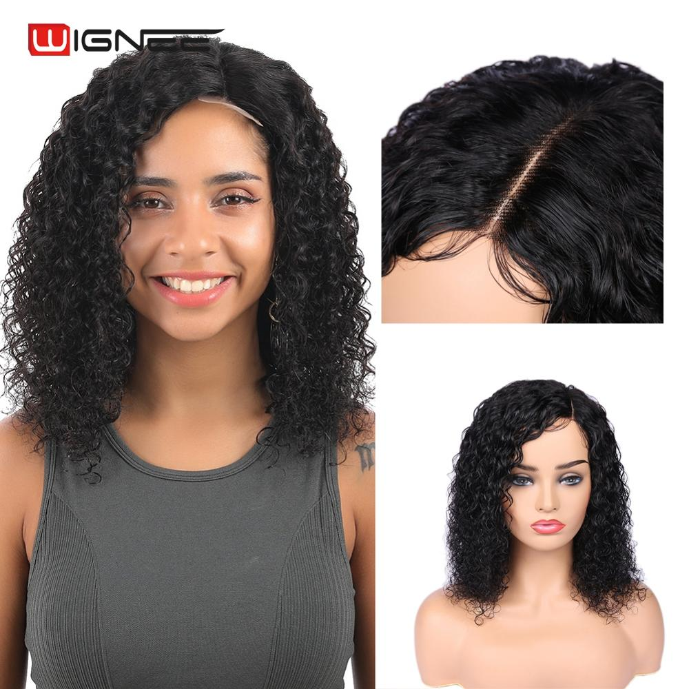 Wignee Short Afro Curly Human Hair Wigs For Women Natural Black Color Side Part Kinky Curly 150% Lace Human Wigs Drop Shipping