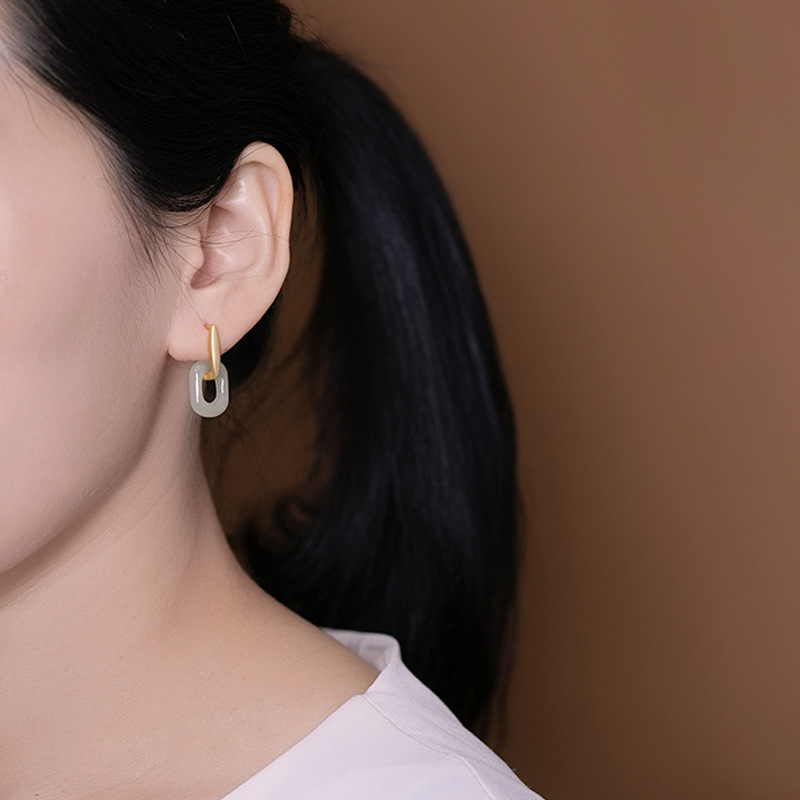 925 silver earrings for women Sterling silver fashion jewelry Costume wedding Hetian jade irregular earings jade earrings