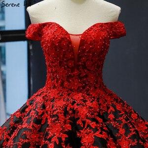 Image 5 - Vestido de novia negro y rojo, hombros descubiertos, Sexy, Vintage, de gama alta, trajes de novia con perlas, foto Real HM66842, hecho a medida, 2020