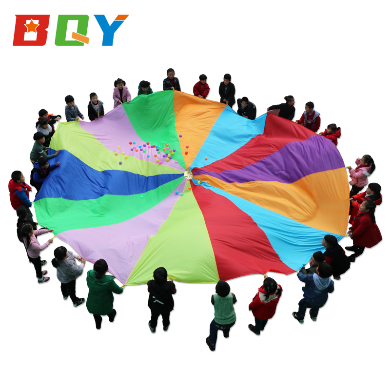 BQY Play Parachute With Handles New & Improved Design Multicolored Parachute For Kids Tent Cooperative Games Birthday Gift