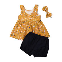 Summer Baby Girl Clothes Sets Fashion Floral Printed Tops+Black Shorts+Bow Headband 3PCS Outfit Toddler Infant Clothes(China)