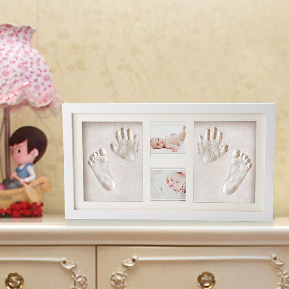 Soft Baby Handprint Kit Memorable Foot Inkpad Clay Photo Easy Apply Cute Wood Frame Air Drying Gift Mud Non Toxic
