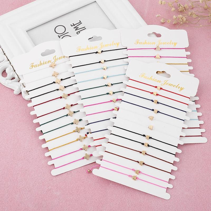 12pcs /set Colorful Cross Butterfly Braided Rope Bracelet For Women Adjustable Men DIY Lucky Bracelet Couple Faimly Jewelry Gift