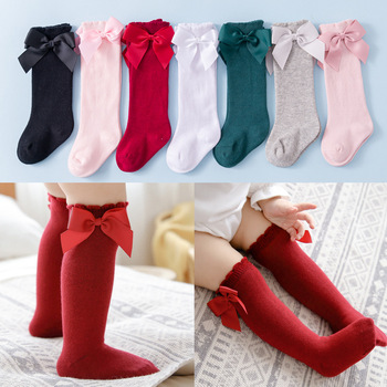 2020 Kids Socks Toddlers Girls Big Bow Knee High Quality Long Soft 100% Cotton Lace Baby Tube Sock Calcetines