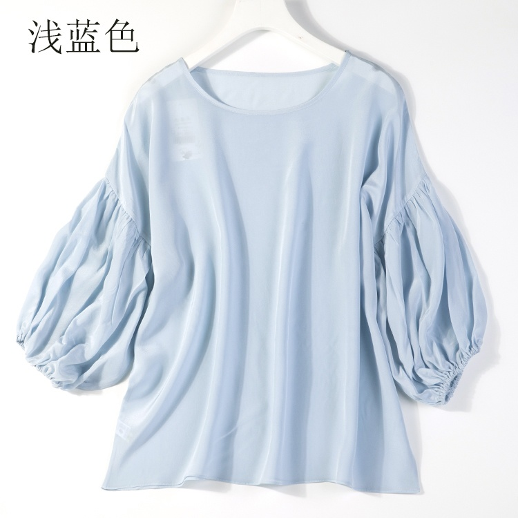 Good Quality 100% Pure Silk Long Puff Sleeve Top Shirt Blouse ONE SIZE JN007