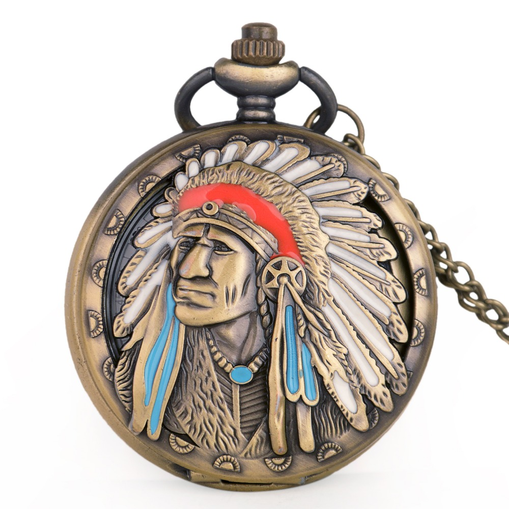 H64368e0968be4bc39d8098ea4b1de7f3A - Vintage Bronze Indian Old Man Pattern Quartz Pocket Watches Analog Pendant Necklace Fob Watch Men Women Gifts