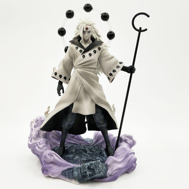 Naruto Uchiha Madara Rikudo Sennin Ootutuki Hagoromo Facial Replacement PVC Action Figure Collection Model 26cm