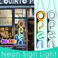 100 240V OPEN Neon Sign Light LED Wall Light Visual Artwork Restaurant Bar Lamp Home Room Shop Decoration Commercial Lighting