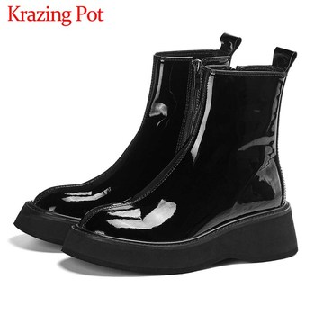 Krazing Pot hot cow leather thick bottom Chelsea boots side zip black colors round toe winter keep women fashion ankle L16 - discount item  50% OFF Women's Shoes