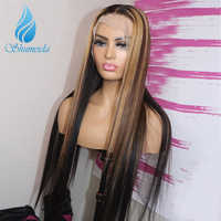 Highlight Color Lace Front Wigs with Pre Plucked Hairline 150% Density Indian Straight Human Hair Wig Brown Remy Hair Wigs