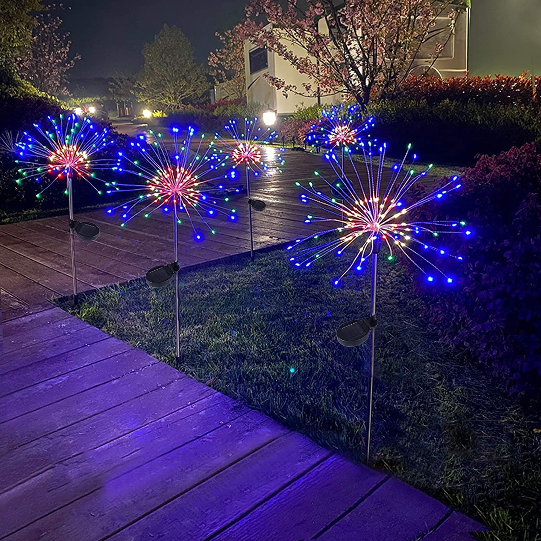 Luces solares de fuegos artificiales para exteriores, impermeables, árboles para pasarela, Patio, césped, Patio, decoración para fiesta de Navidad